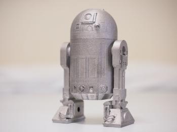 金属3Dプリンターで造ったアルミニウムのR2D2の像です