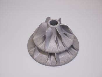 金属3Dプリンターで造ったアルミニウムのタービンです